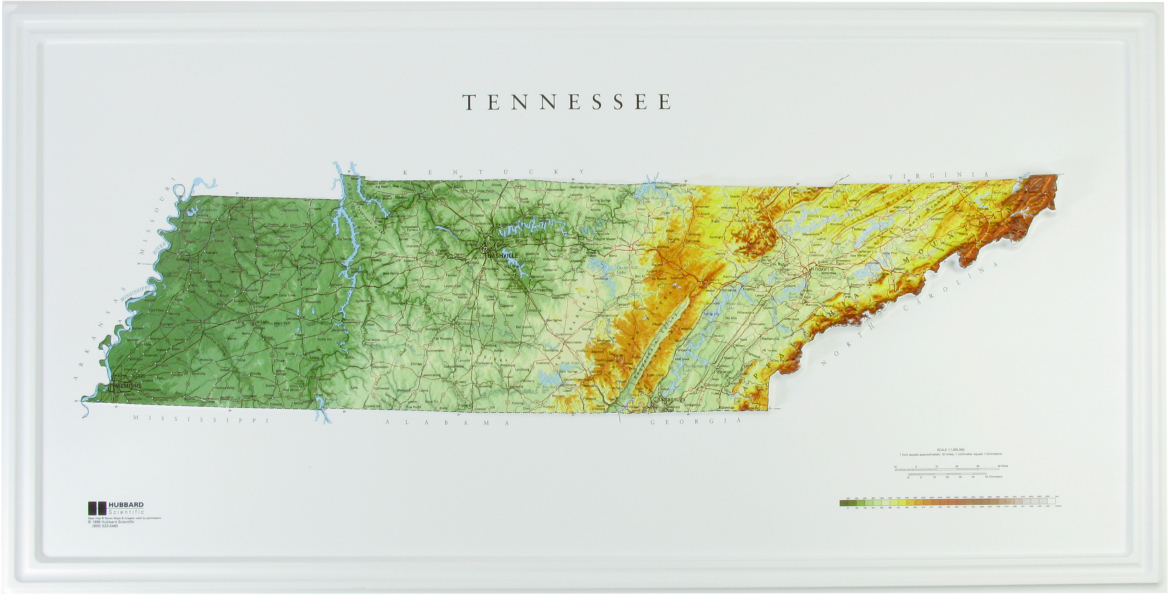 Hubbard Scientific Raised Relief Map: Tennessee State Map