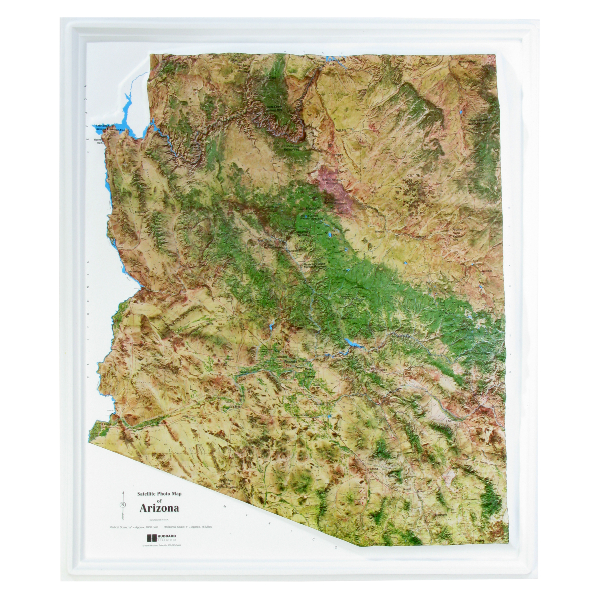 Satellite Maps Arizona American Education Raised Relief Map: Arizona Satellite Map   USA