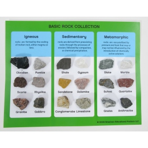 Scott Resources & Hubbard Scientific Basic Rock Collection: Mounted, 18 Pieces