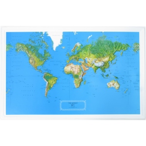 "Hubbard Scientific Raised Relief Map: World NCR, 34"" x  22"""