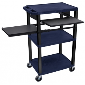 "Luxor 42""H AV Cart - 3 Shelves, Pullout - Black Leg"