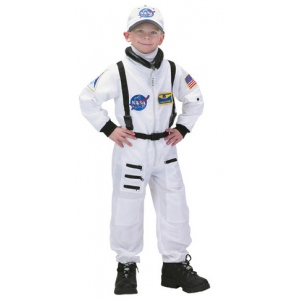 Aeromax Junior Astronaut Suit with Embroidered Cap: White, Size 6/8
