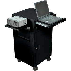 "Luxor 36"" Steel Multimedia Cart with Locking Cabinet"