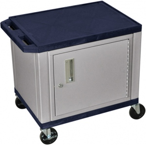 luxor tuffy av cart 2 shelves nickel legs with cabinet navy - Av Cart