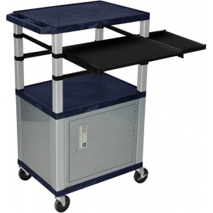 "Luxor 42""H AV Cart - 3 Shelf, Cab, Front+Side Pullout - N"