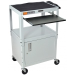 Luxor Adjustable Height Steel Cart with Cabinet & Pullout Tray: Gray