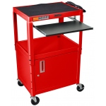 Luxor Adjustable Height Steel Cart with Cabinet & Pullout Tray: Red