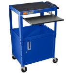 Luxor Adjustable Height Steel Cart with Cabinet & Pullout Tray: Blue