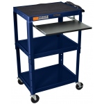 Luxor Adjustable Height Steel Cart with Pullout Keyboard Tray: Navy