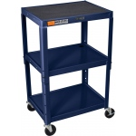 Luxor Steel Adjustable Height AV Cart 3 Shelves: Navy