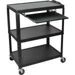 Luxor Extra Large Steel Adjustable Cart with Keyboard Shelf