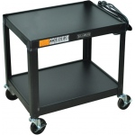 Luxor Steel 26 Fixed Height AV Cart 2 Shelves: Black