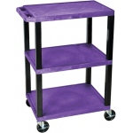 "Luxor Tuffy Utility Cart 3 Shelves: Purple, 34"" H"