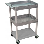 Luxor Top/Middle Tub & Flat Bottom Shelf Cart: Gray
