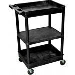 Luxor Top/Bottom Tub & Flat Middle Shelf Cart: Black