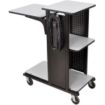 Luxor Heavy Duty Presentation Station: Gray, 3 Electric Outlet