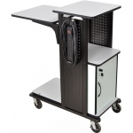 Luxor Heavy Duty Presentation Station: Gray with Cabinet and 7 Electric Outlet