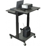 Luxor Mobile Adjustable Height Presentations Workstation: Black