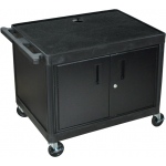 "Luxor AV Carts 2 Shelves with Cabinet: Black, 3 Electric Outlet, 27"" H"