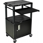 Luxor Tuffy Front Pullout Shelf Carts Black Legs with Cabinet: Black