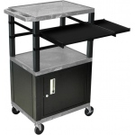 Luxor Front and Side Pullout Shelf Carts Black Legs with Cabinet: Gray