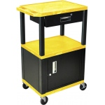 Luxor Tuffy Cart 3 Shelves Black Legs with Drawer and Cabinet: Yellow