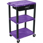 Luxor Tuffy Cart 3 Shelves Black Legs with Drawer: Purple