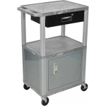 Luxor Tuffy Cart 3 Shelves Nickel Legs with Drawer and Cabinet: Gray