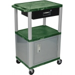 Luxor Tuffy Cart 3 Shelves Nickel Legs with Drawer and Cabinet: Hunter Green