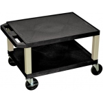 "Luxor Tuffy AV Cart 2 Shelves Black Legs: Black, 16"" H"
