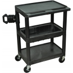Luxor Mobile Projector Cart: Black, 3 Electric Outlet