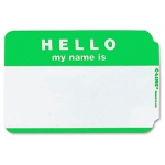 C Line Self Adhesive Green Name Badges Hello Pack Of 100