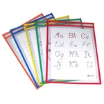 Reusable Dry Erase Pockets 25/box Assorted Primary 9 X 12