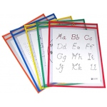 Reusable Dry Erase Pockets 5/box Assorted Primary 9 X 12