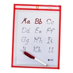 C Line Reusable 9x12 Dry Erase Pocket Red Neon