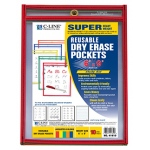 C Line Reusable 10pk 6x9 Dry Erase Pockets Assorted Primary