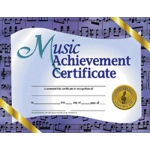 Music Achievement 30/pk 8.5 X 11 Certificates