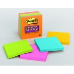 Post-It Notes Super Sticky 6 Pads Neon Fusion Colors 4 X 4 Lined