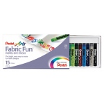 Pentel 15 Color Fabric Fun Dye Sticks Set