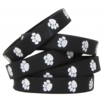 Black W White Paw Prints Wristbands 10/pk