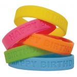 Happy Birthday Wristbands 10/pk Neon Colors
