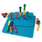 Large Tall-Stacker Peg Set 50 Pegs 11-1/2 100-Hole Board