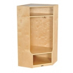 ECR4Kids Birch Corner Section Coat Locker with Bench
