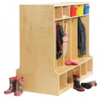 ECR4Kids Birch Double-Sided 10-Section Locker w/ Bench