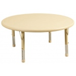 "ECR4Kids 45"" Round Resin Adjustable Activity Table: Sand"