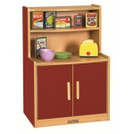 ECR4Kids Colorful Essentials Play Kitchen: Cupboard, Red
