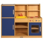 ECR4Kids Colorful Essentials: 4-In-1 Play Kitchen, Blue