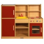ECR4Kids Colorful Essentials: 4-In-1 Play Kitchen, Red