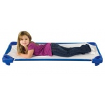 ECR4Kids Stackable Kiddie Cot Standard with Sheet: Ready to Assemble, Blue