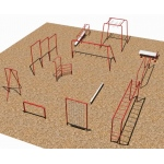 12 Fitness Course & Horizontal Ladder: Painted - Playground Equipment
